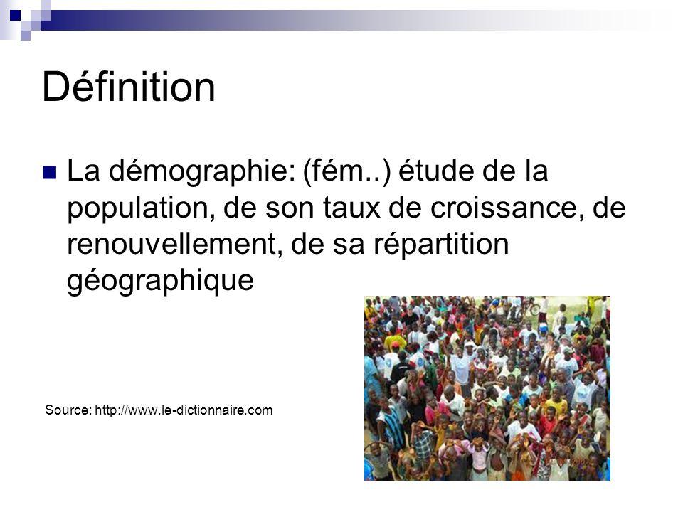 DéfinitionLa démographie: (fém..) étude de la population, de son taux de croissance, de renouvellement, de sa répartition géographique.