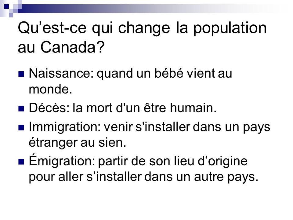 Qu'est-ce qui change la population au Canada
