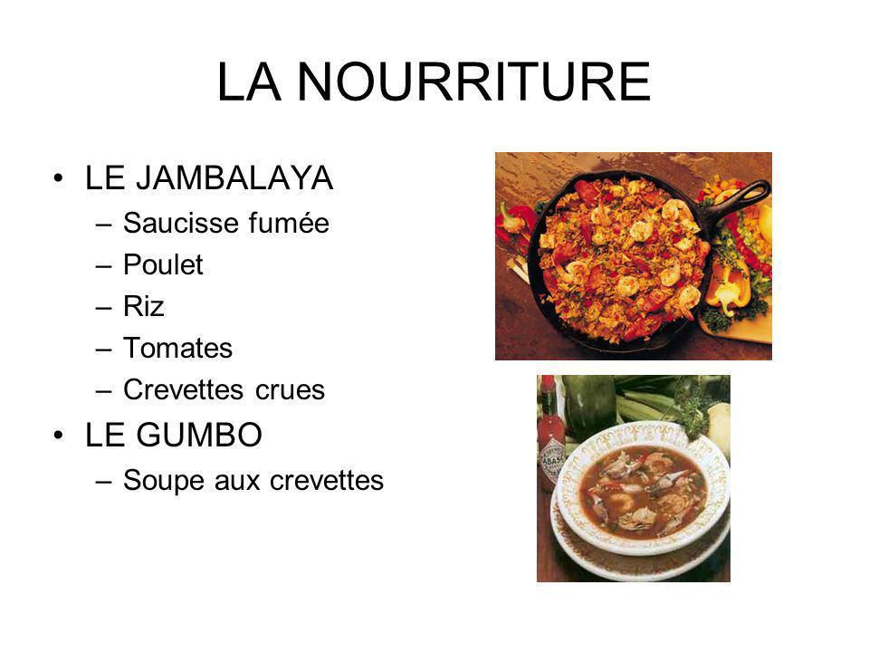 LA NOURRITURE LE JAMBALAYA LE GUMBO Saucisse fumée Poulet Riz Tomates