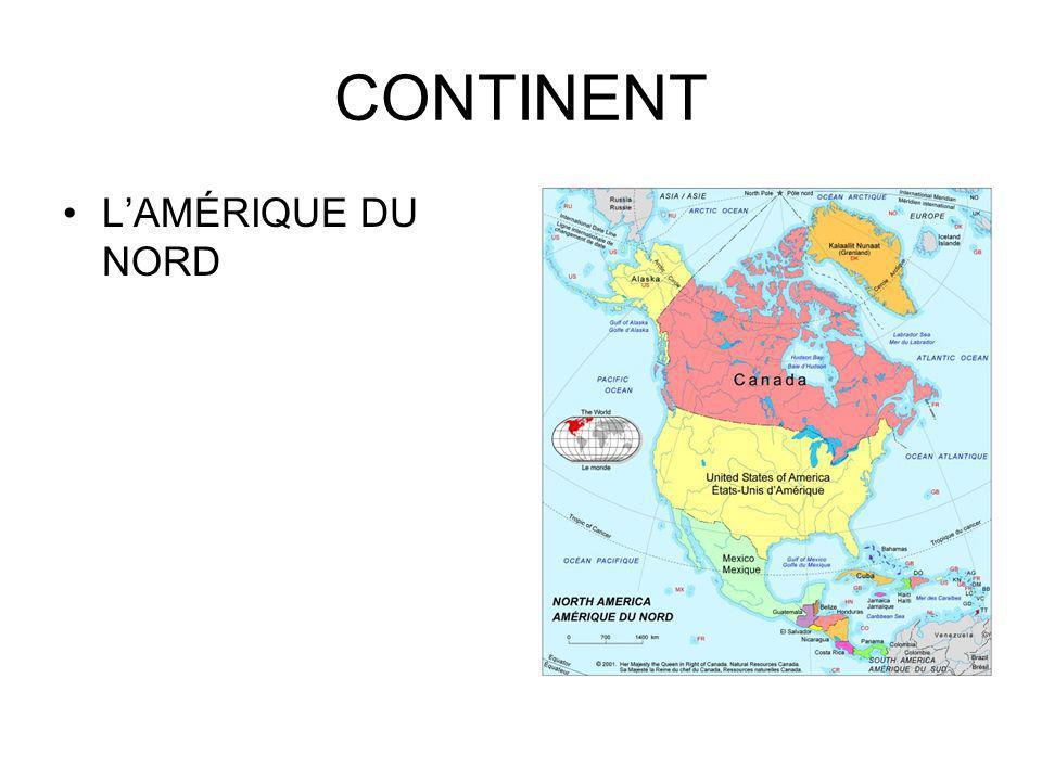 CONTINENT L'AMÉRIQUE DU NORD