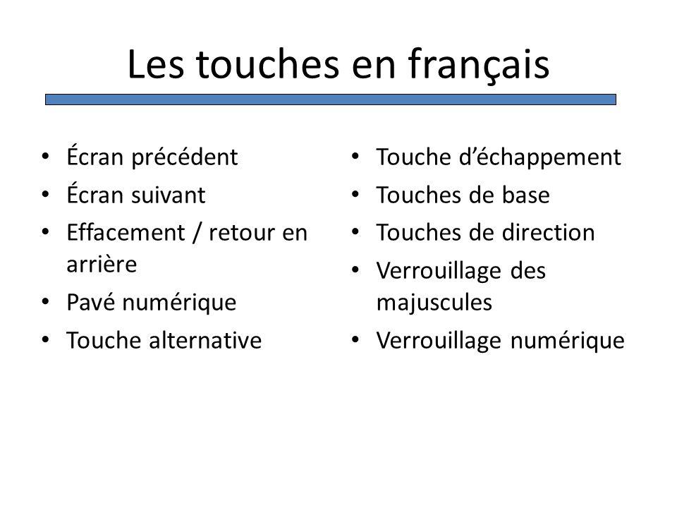 Les touches en français