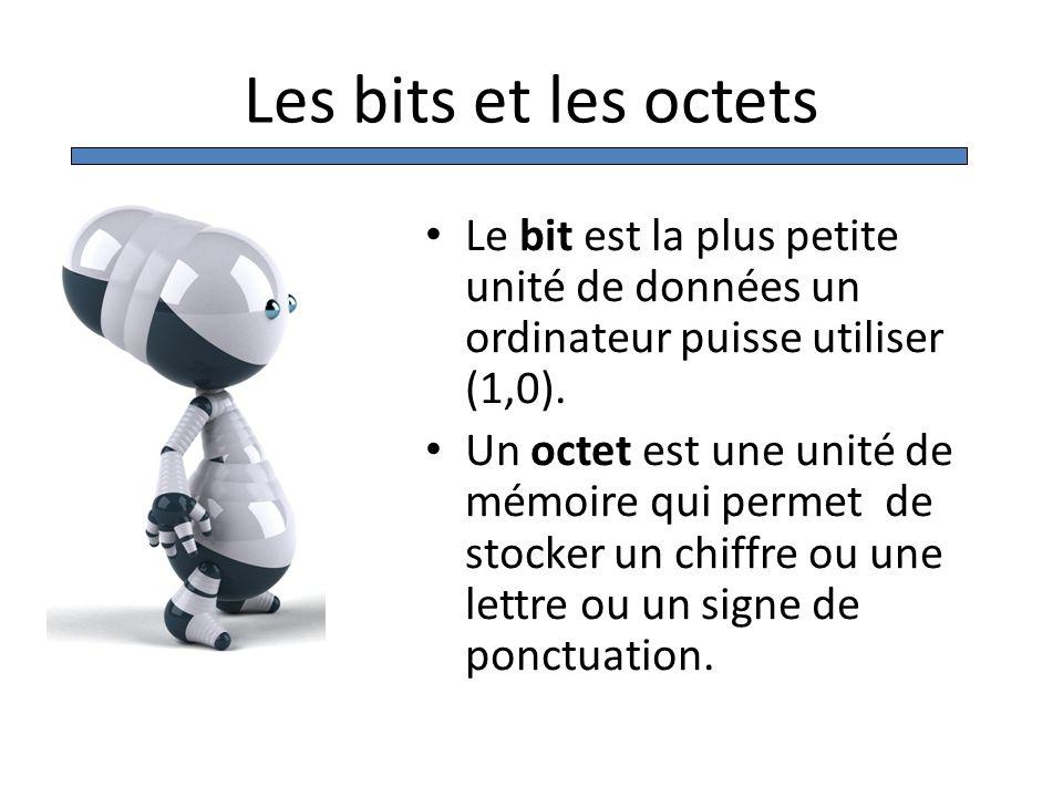 Les bits et les octets Le bit est la plus petite unité de données un ordinateur puisse utiliser (1,0).