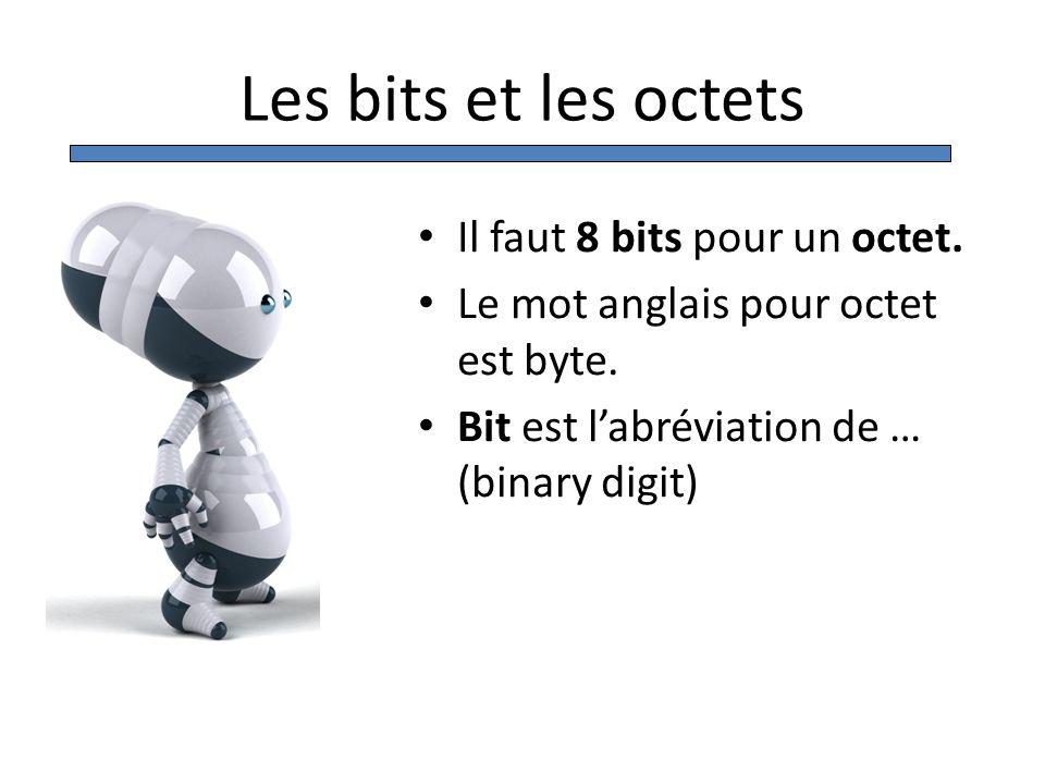 Les bits et les octets Il faut 8 bits pour un octet.
