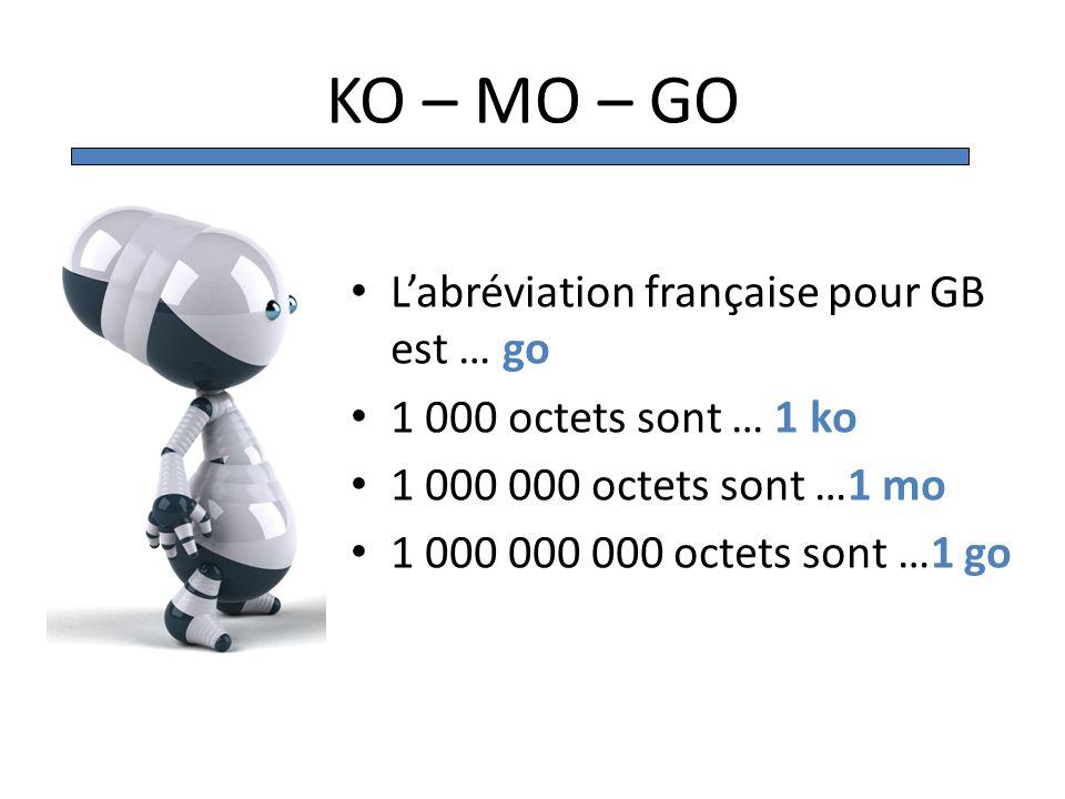 KO – MO – GO L'abréviation française pour GB est … go
