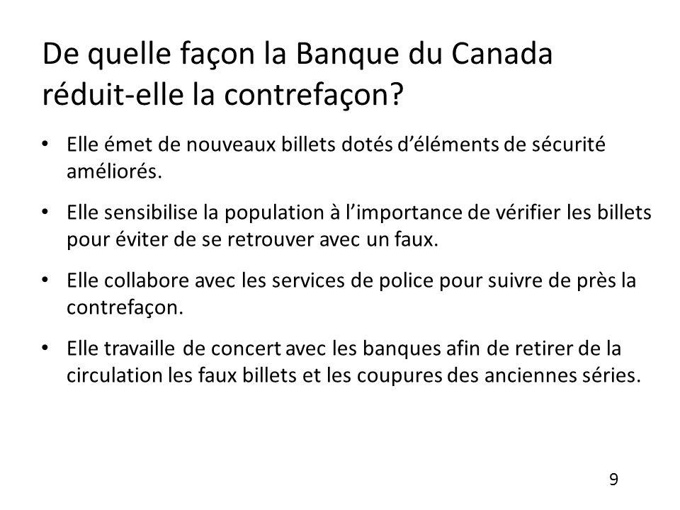 De quelle façon la Banque du Canada réduit-elle la contrefaçon