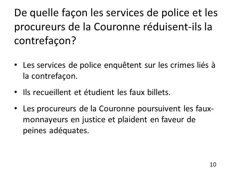 De quelle façon les services de police et les procureurs de la Couronne réduisent-ils la contrefaçon