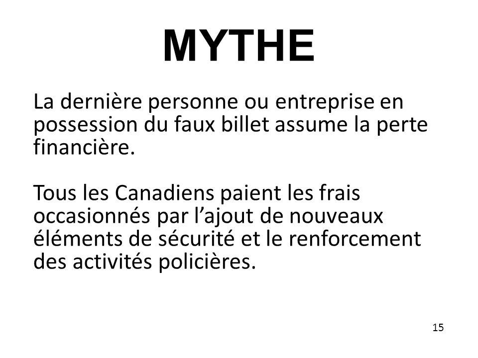 MYTHE La dernière personne ou entreprise en possession du faux billet assume la perte financière.