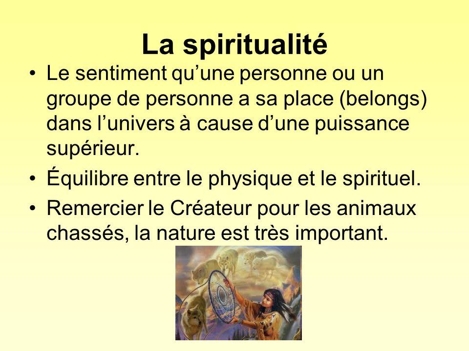 La spiritualité Le sentiment qu'une personne ou un groupe de personne a sa place (belongs) dans l'univers à cause d'une puissance supérieur.