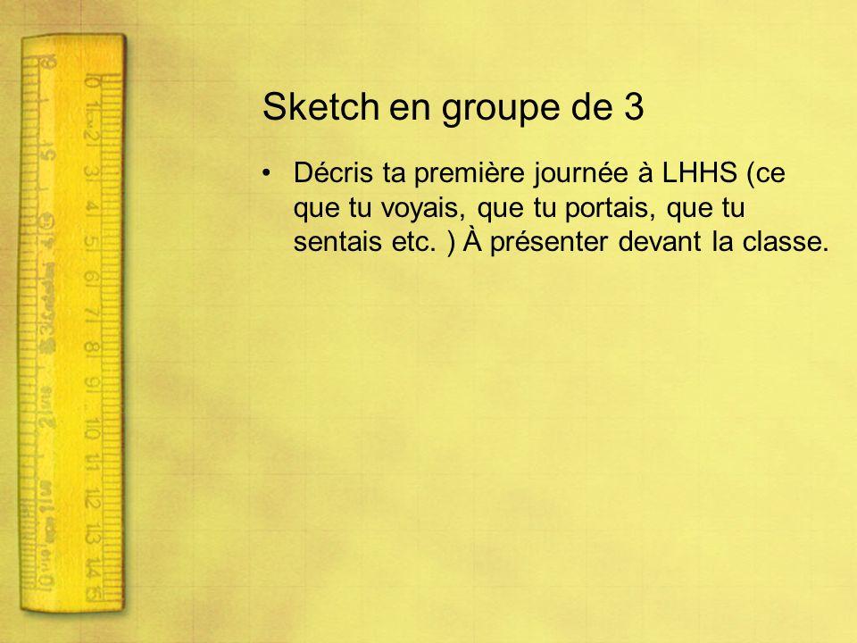 Sketch en groupe de 3 Décris ta première journée à LHHS (ce que tu voyais, que tu portais, que tu sentais etc.