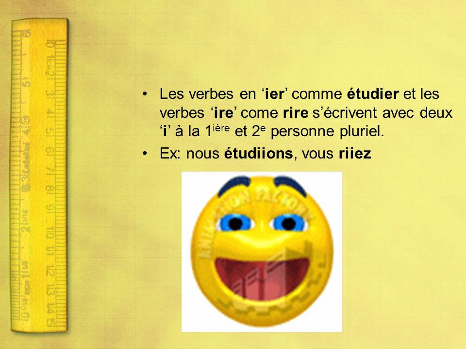 Les verbes en 'ier' comme étudier et les verbes 'ire' come rire s'écrivent avec deux 'i' à la 1ière et 2e personne pluriel.