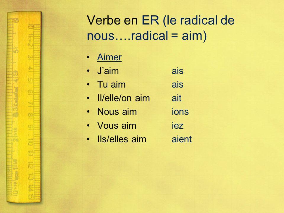 Verbe en ER (le radical de nous….radical = aim)