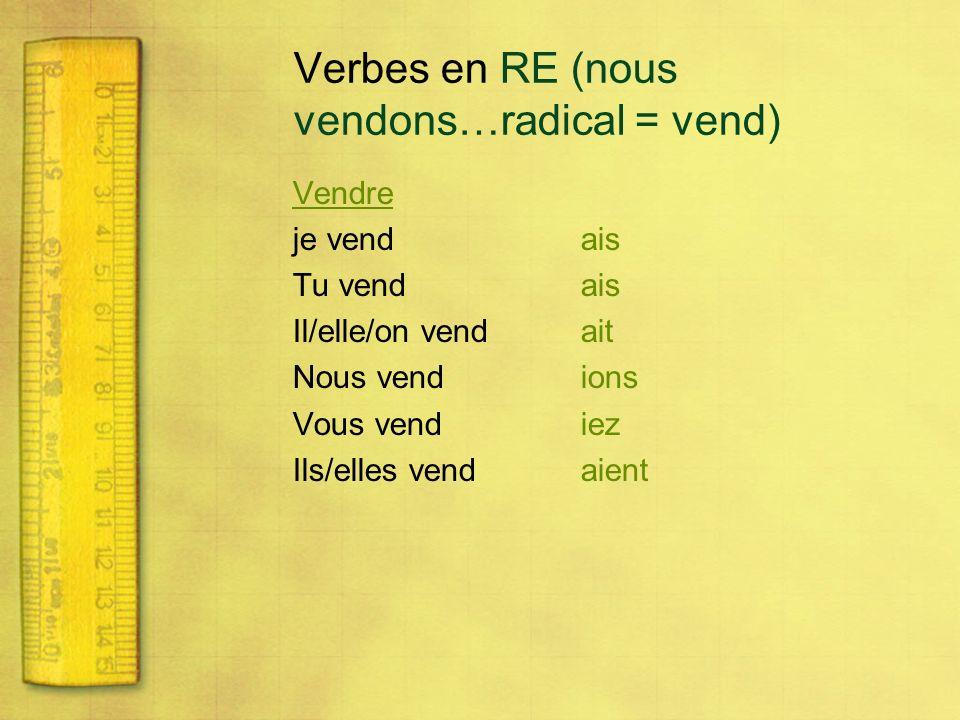 Verbes en RE (nous vendons…radical = vend)