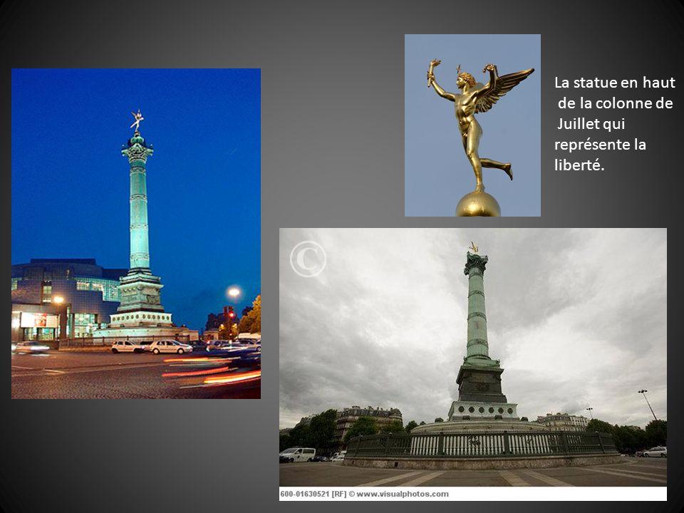 La statue en haut de la colonne de Juillet qui représente la liberté.