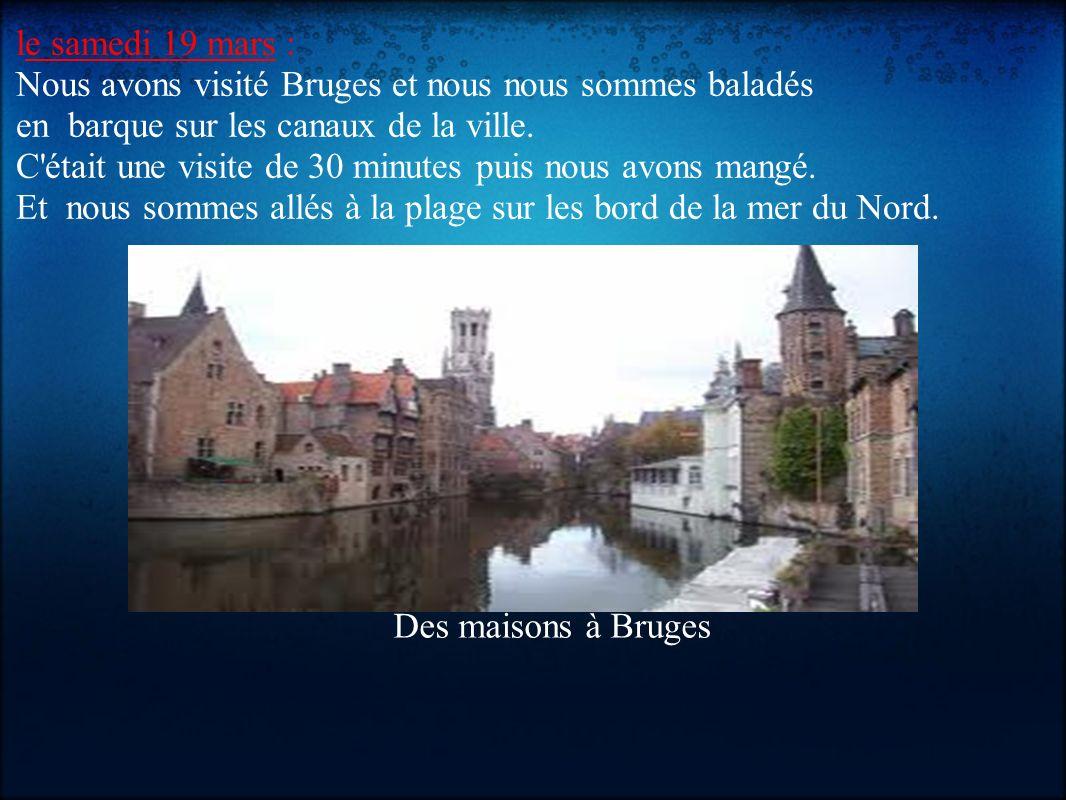 le samedi 19 mars : Nous avons visité Bruges et nous nous sommes baladés en barque sur les canaux de la ville.