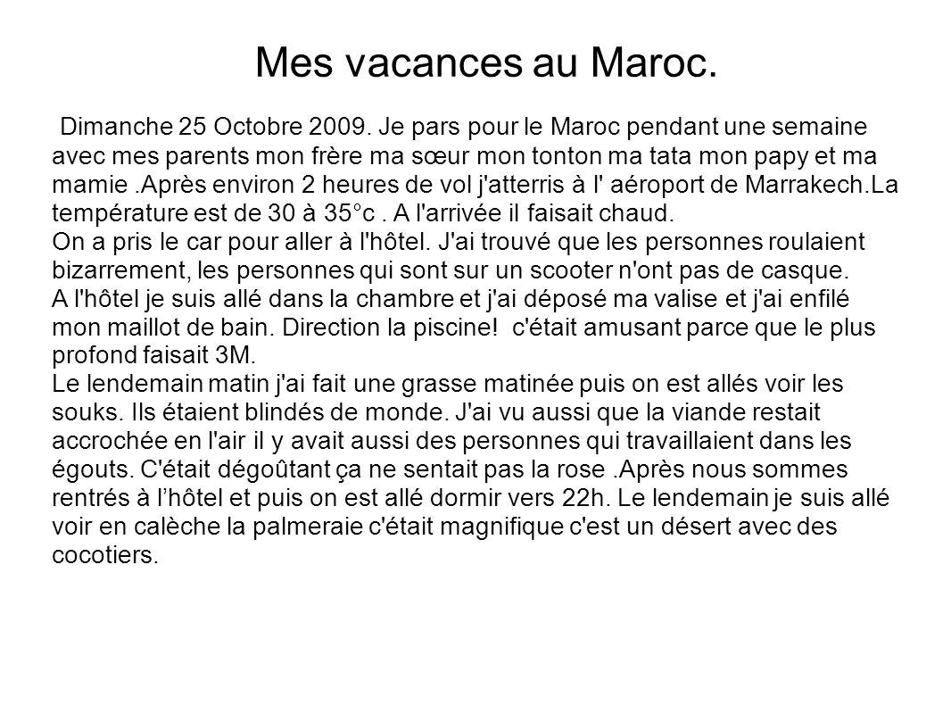 Mes vacances au Maroc.
