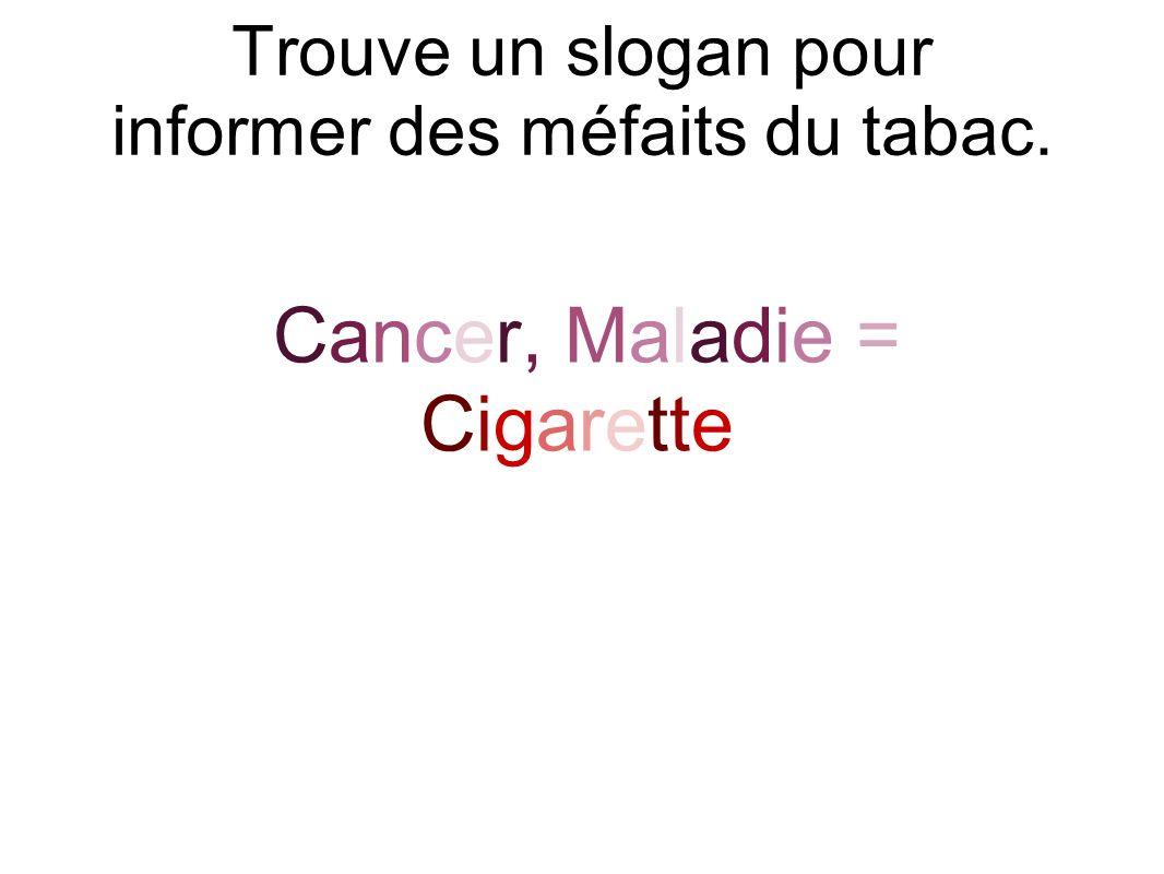Trouve un slogan pour informer des méfaits du tabac.