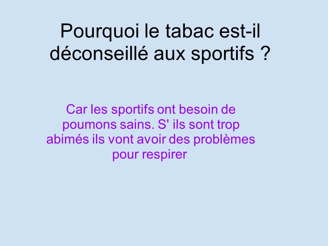 Pourquoi le tabac est-il déconseillé aux sportifs