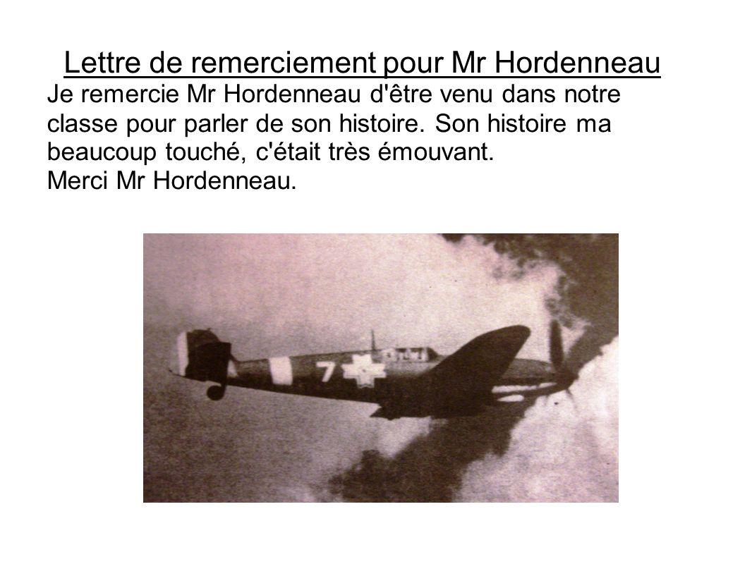 Lettre de remerciement pour Mr Hordenneau