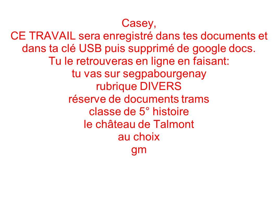 Casey, CE TRAVAIL sera enregistré dans tes documents et dans ta clé USB puis supprimé de google docs.