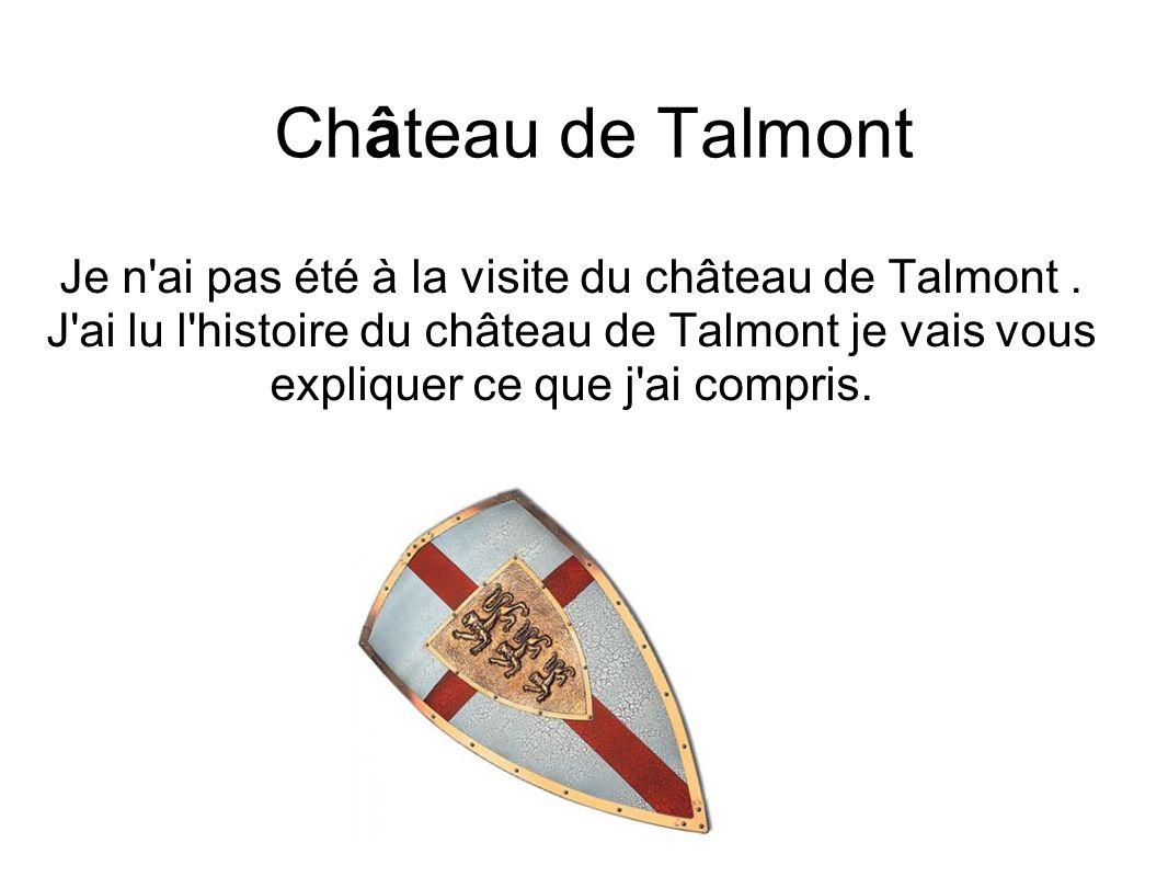 Je n ai pas été à la visite du château de Talmont .