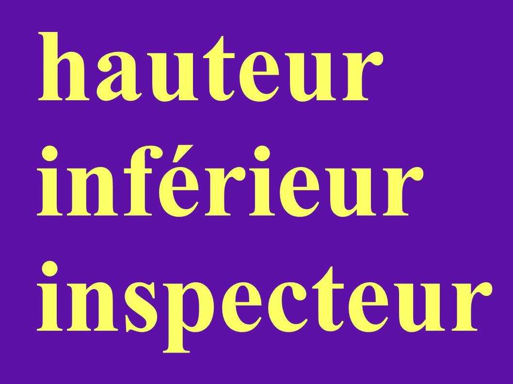 hauteur inférieur inspecteur