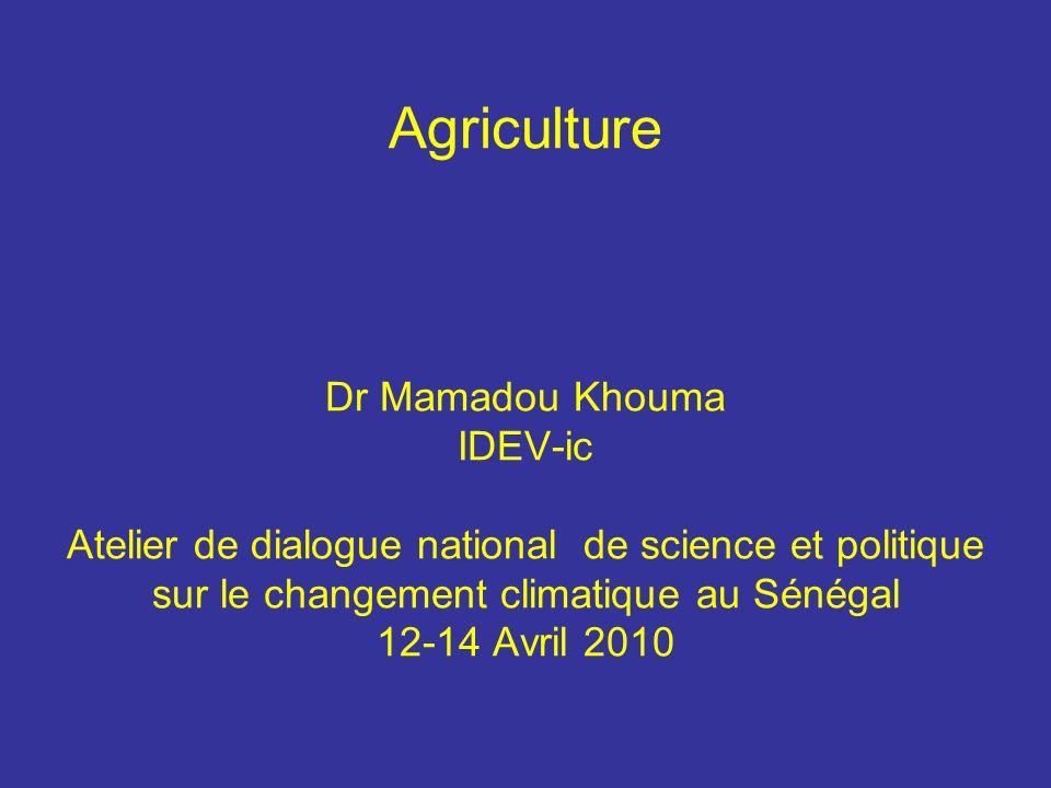Agriculture Dr Mamadou Khouma IDEV-ic Atelier de dialogue national de science et politique sur le changement climatique au Sénégal 12-14 Avril 2010
