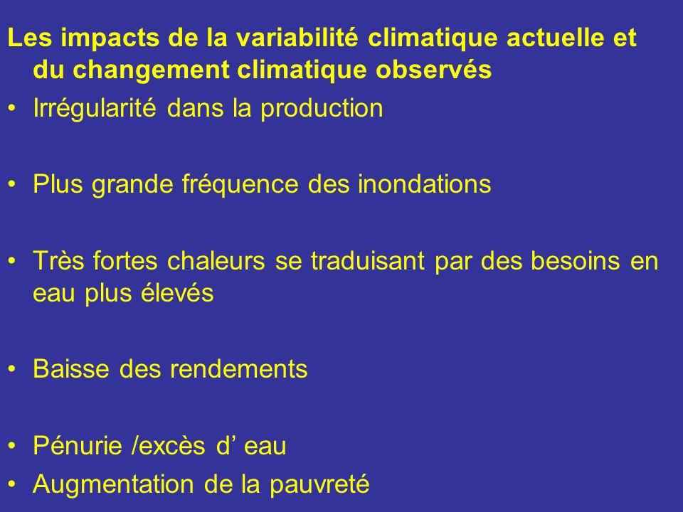 Les impacts de la variabilité climatique actuelle et du changement climatique observés
