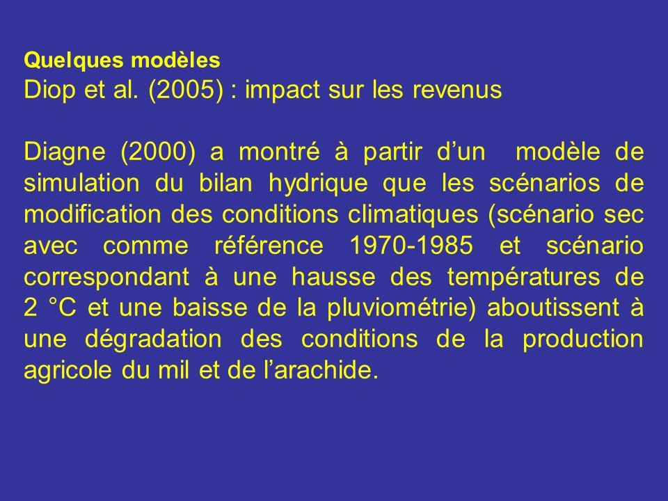 Diop et al. (2005) : impact sur les revenus
