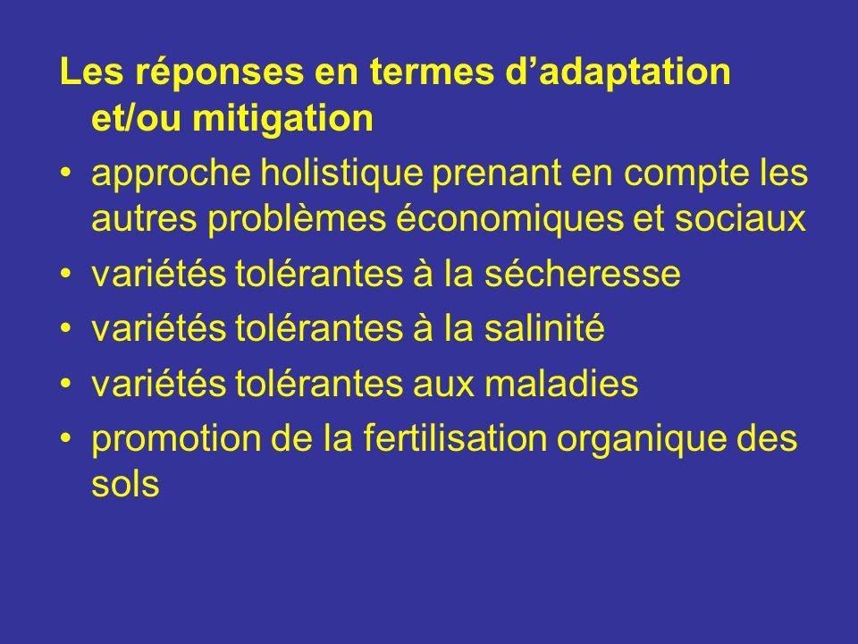 Les réponses en termes d'adaptation et/ou mitigation