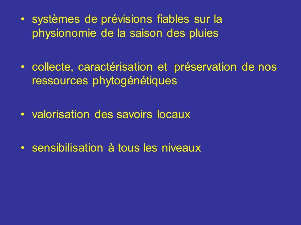 systèmes de prévisions fiables sur la physionomie de la saison des pluies