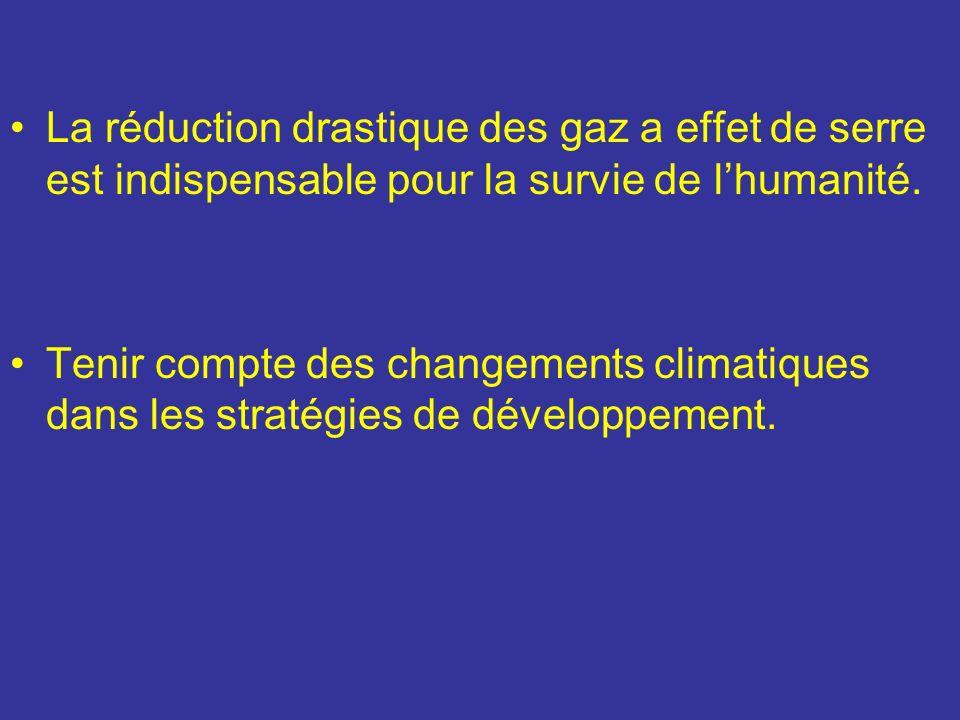 La réduction drastique des gaz a effet de serre est indispensable pour la survie de l'humanité.