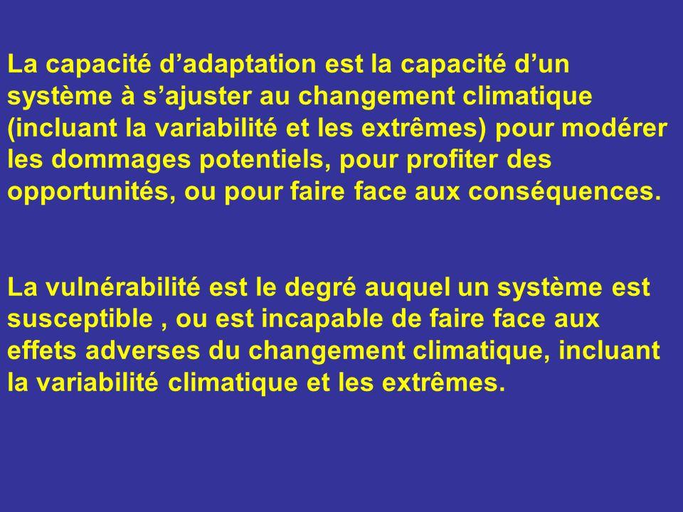 La capacité d'adaptation est la capacité d'un système à s'ajuster au changement climatique (incluant la variabilité et les extrêmes) pour modérer les dommages potentiels, pour profiter des opportunités, ou pour faire face aux conséquences.
