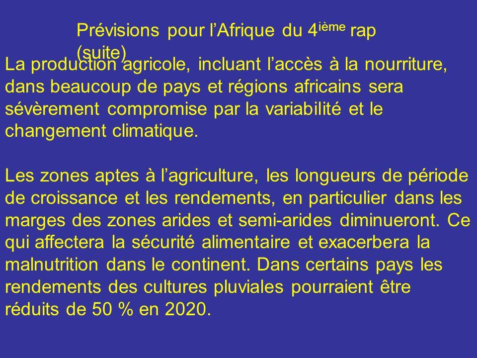 Prévisions pour l'Afrique du 4ième rap (suite)