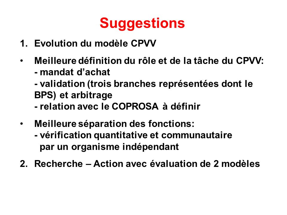 Suggestions Evolution du modèle CPVV