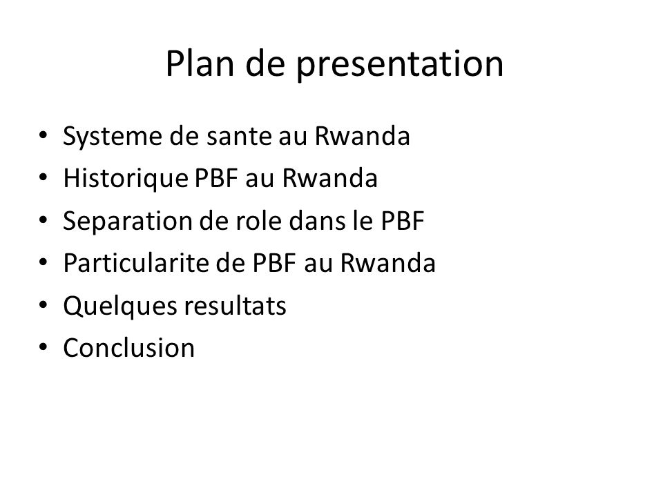 Plan de presentation Systeme de sante au Rwanda