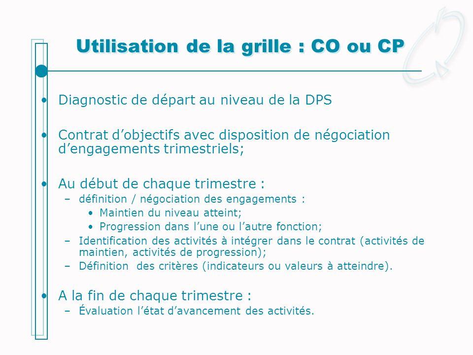 Utilisation de la grille : CO ou CP