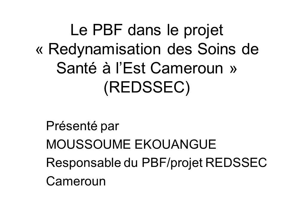 Le PBF dans le projet « Redynamisation des Soins de Santé à l'Est Cameroun » (REDSSEC)
