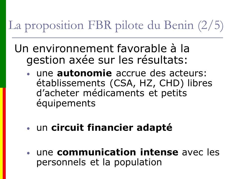 La proposition FBR pilote du Benin (2/5)