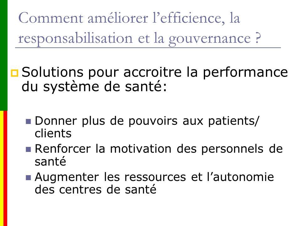 Comment améliorer l'efficience, la responsabilisation et la gouvernance