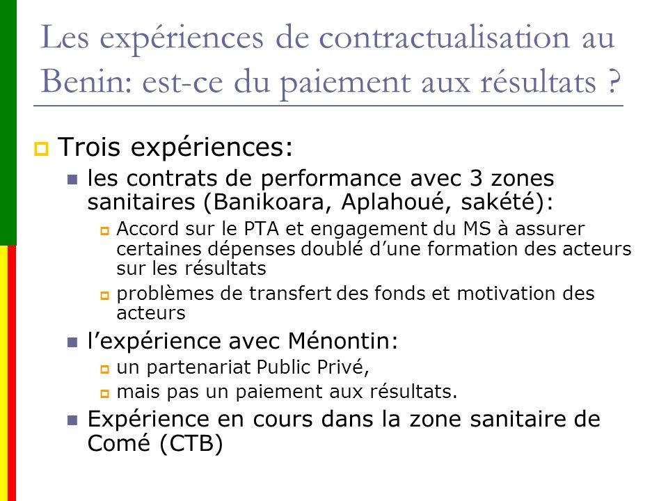 Les expériences de contractualisation au Benin: est-ce du paiement aux résultats