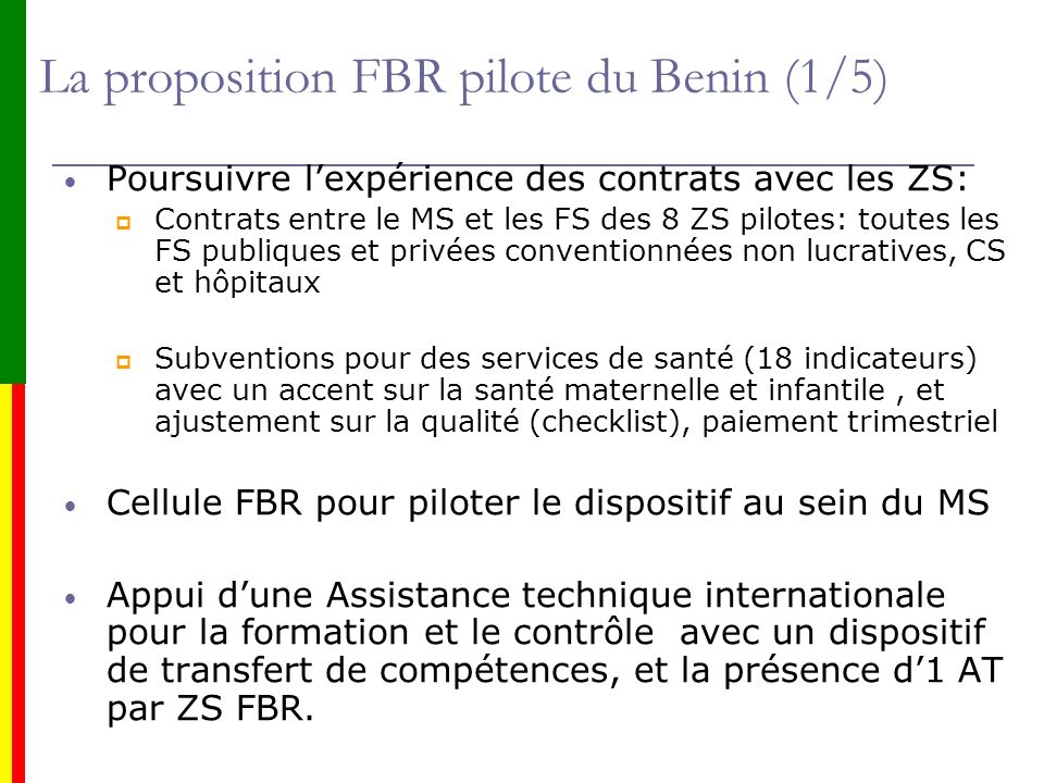 La proposition FBR pilote du Benin (1/5)