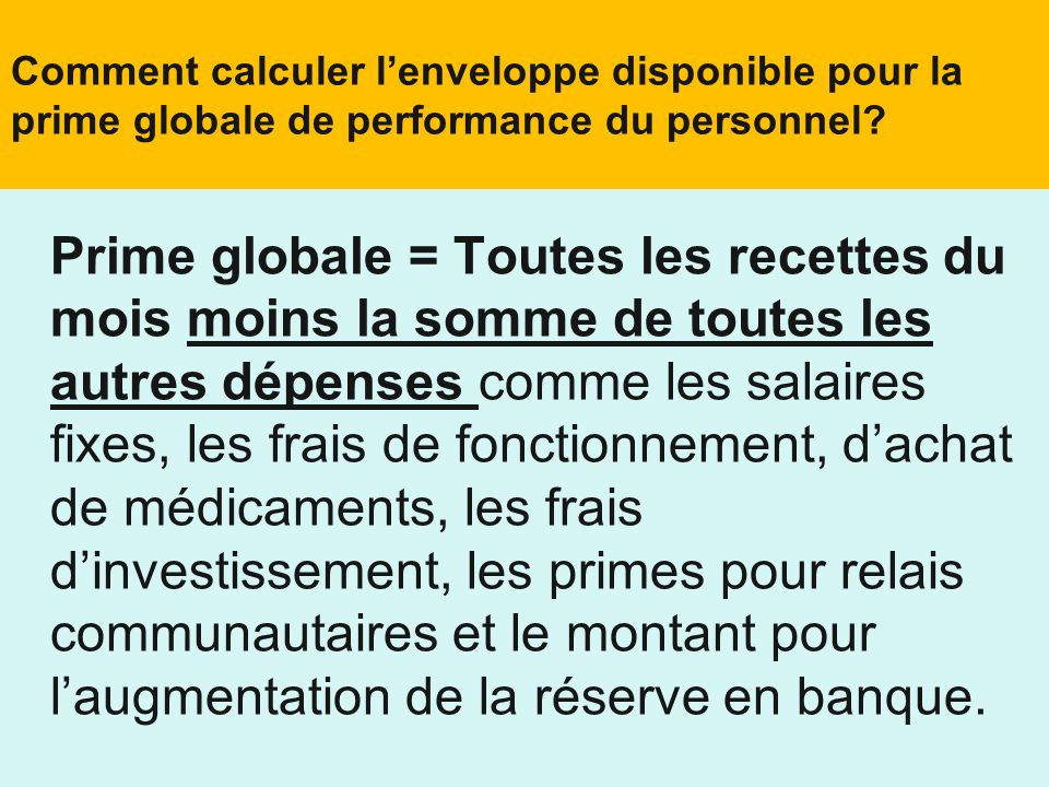 Comment calculer l'enveloppe disponible pour la prime globale de performance du personnel