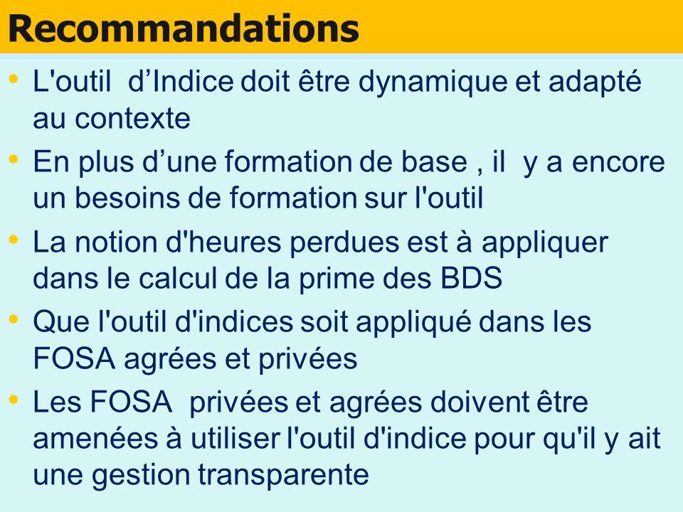 Recommandations L outil d'Indice doit être dynamique et adapté au contexte.