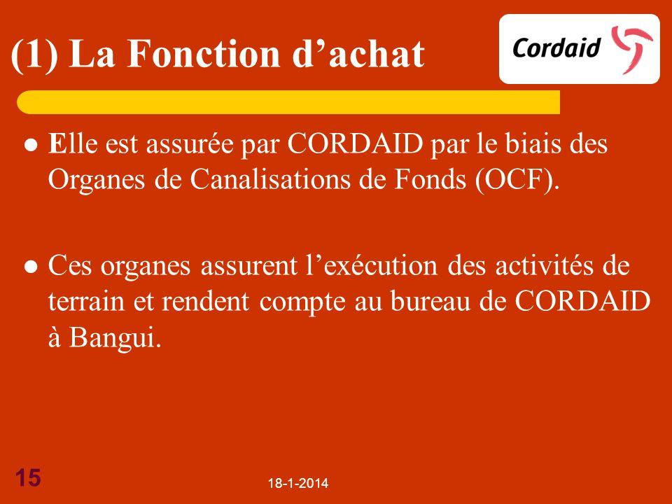 (1) La Fonction d'achat Elle est assurée par CORDAID par le biais des Organes de Canalisations de Fonds (OCF).