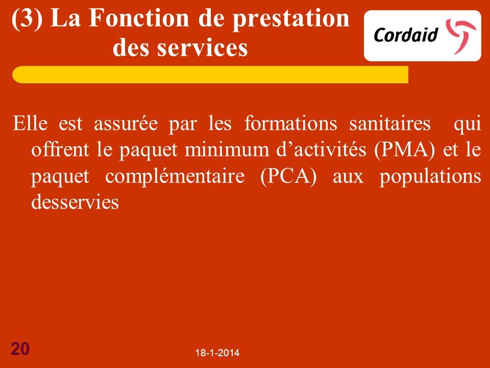 (3) La Fonction de prestation des services