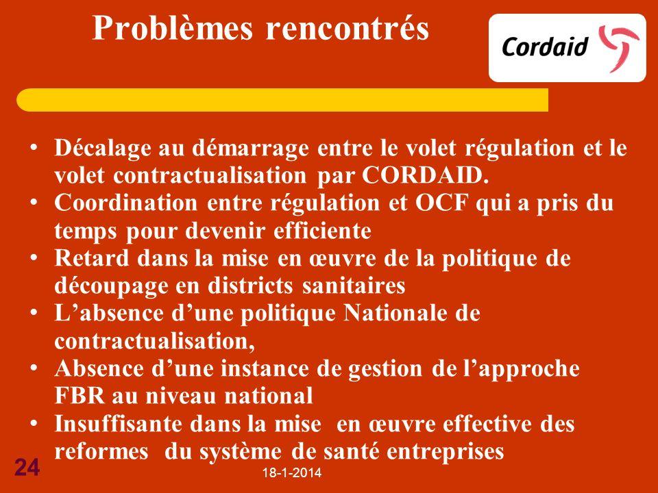 Problèmes rencontrés Décalage au démarrage entre le volet régulation et le volet contractualisation par CORDAID.