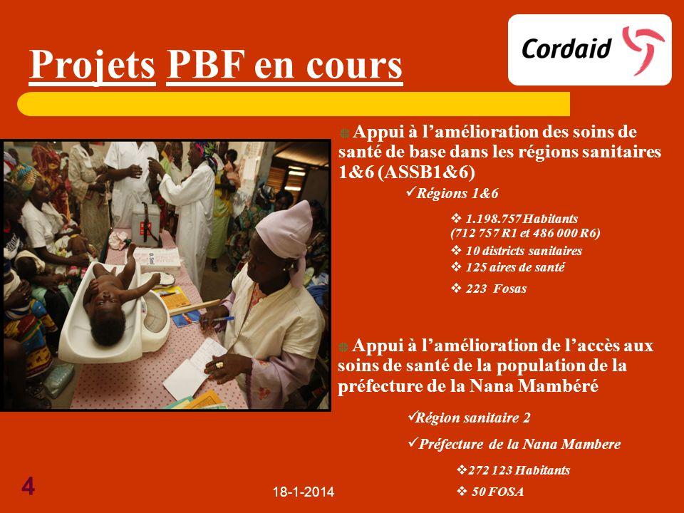 Projets PBF en cours Appui à l'amélioration des soins de santé de base dans les régions sanitaires 1&6 (ASSB1&6)