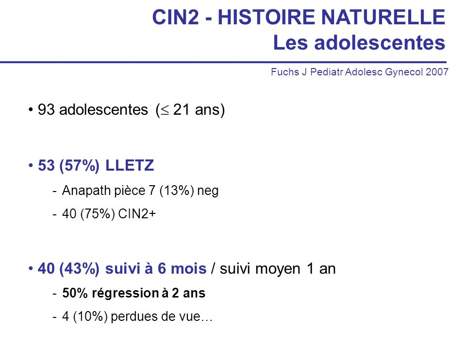CIN2 - HISTOIRE NATURELLE Les adolescentes