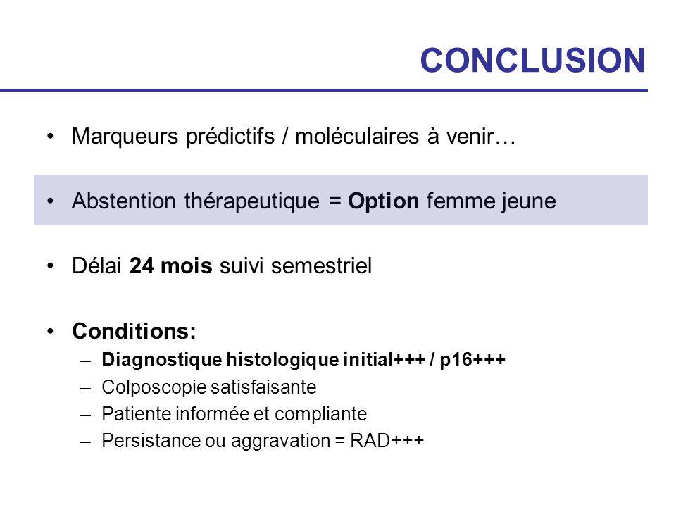 CONCLUSION Marqueurs prédictifs / moléculaires à venir…