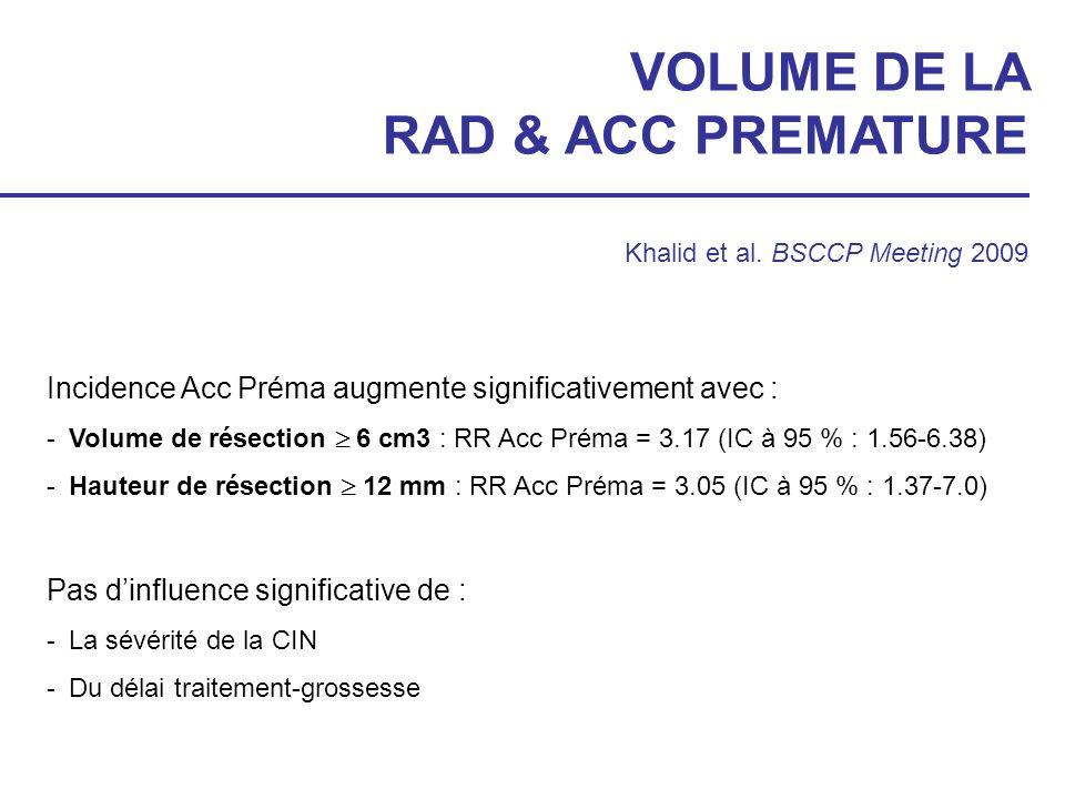 VOLUME DE LA RAD & ACC PREMATURE